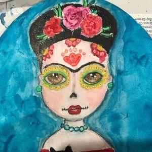 Wall Art - Original watercolor painting Frida Kahlo Catrina
